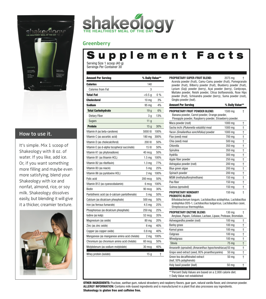 Nutrition facts shakeology chocolate